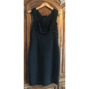 Tadashi Collection Black Cocktail Bandage Dress L